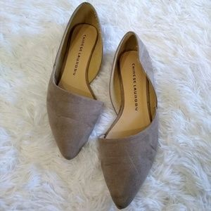 Tan Pointed Chinese Laundry Suede Flats Size 6